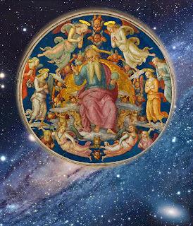 Deus Padre rodeado de anjos. Pietro Perugino (1450-1523), Vaticano. Fundo: galáxia Andrómeda, NGC 224, a mais parecida com a nossa galáxia.