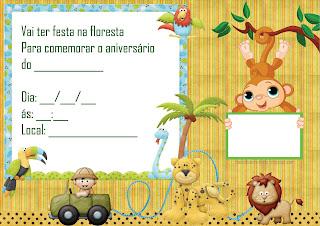 convite aniversario safari para imprimir grátis