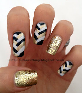 fishtail manicure gold black white nail art