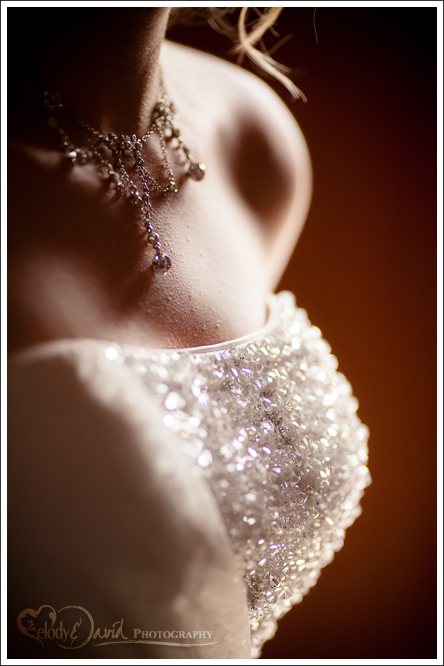 Detail shot of bride wearing necklace