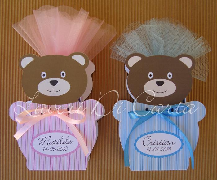 Bomboniere Di Carta Battesimo : Lavori di carta novita orsetto bomboniera segnaposto per