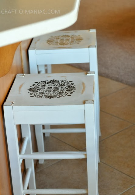 Diy Re Vamped Stenciled Bar Stools Craft O Maniac