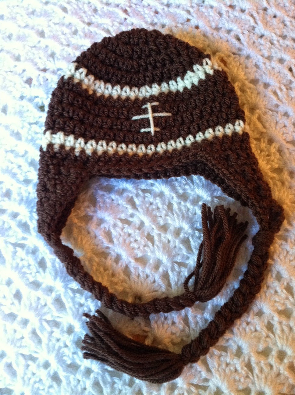 Lakeview Cottage Kids Crochet Football Earflap Hat Free Pattern