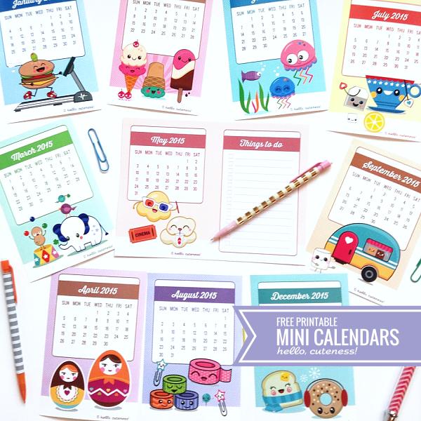 printable mini calendars 2015
