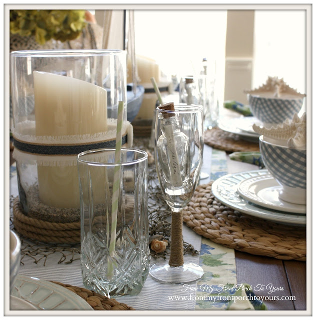 Nautical Dining Room-Beachy Wine Glass- From My Front Porch To Yours