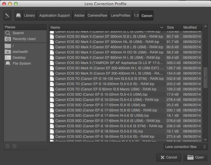 Screenshot of the lens correction profiles