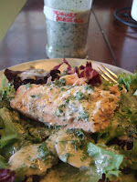 salmon marinated in yogurt; yogurt dressing on salad
