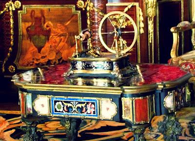sewing wheel, old fashioned, vintage, Waddesdon Manor, inside, interior, wood panelling, UK, England, historical, history