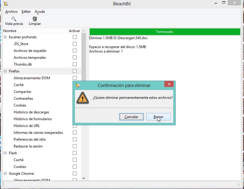 BleachBit - Triturar archivos
