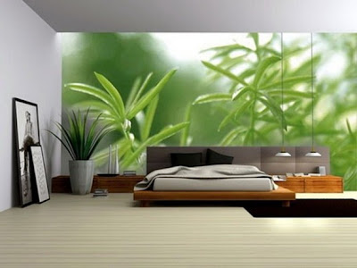 decoración con fotomural en dormitorio