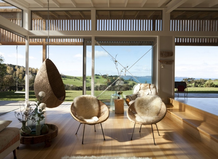 Chairs and swing in Wooden house in New Zealand