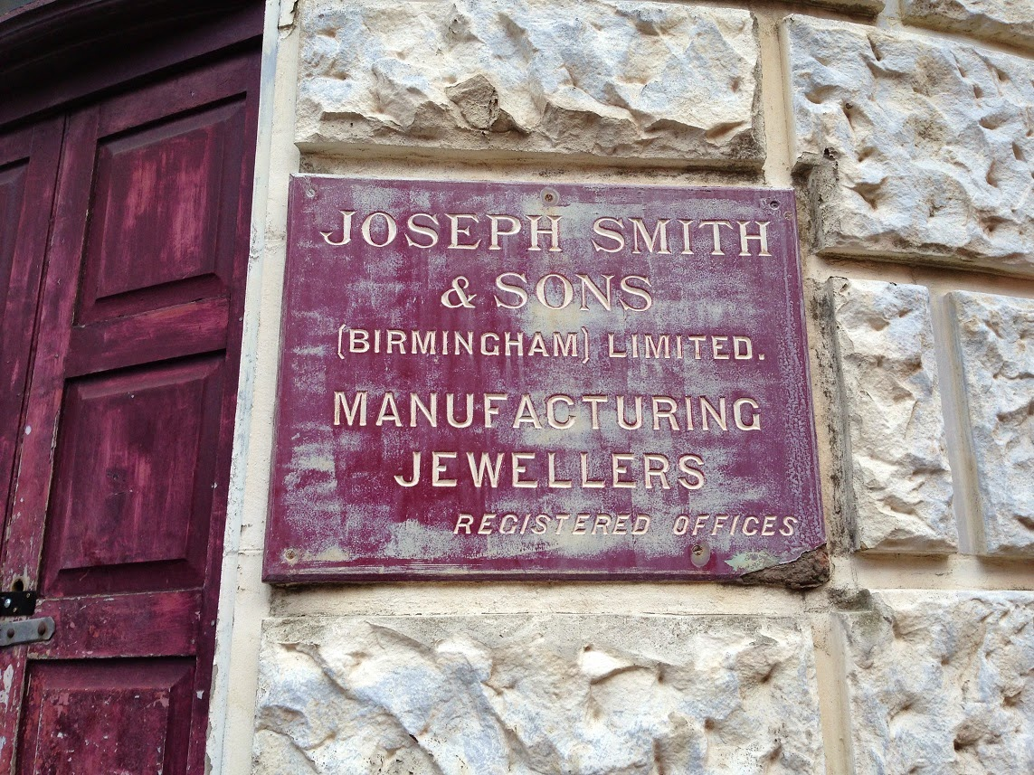 Old sign, Joseph Smith & Sons, Manufacturing Jewellers, Jewellery Quarter, Birmingham
