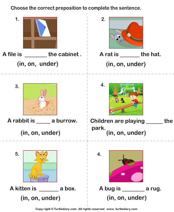 Worksheets On Prepositions For Grade 1 - Scalien