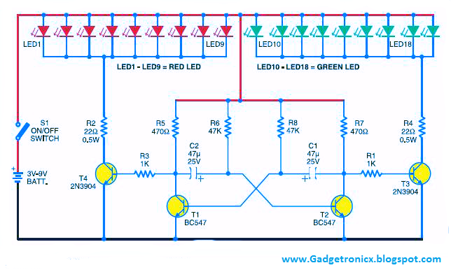 Led Christmas Lighting Using Transistors on simple battery charger circuit