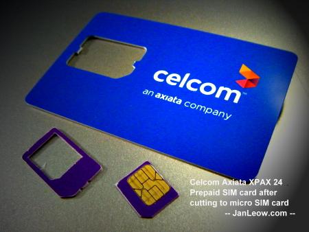 Celcom Axiata XPAX 24 prepaid cut into a micro SIM card size.