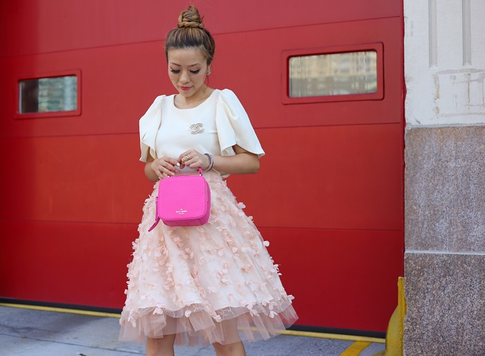 anthropologies fluttered fete midi skirt, chanel earrings, chanel brooch, kate spade bag, hot pink bag, midi skirt, christian louboutin heels, street style, fashion blog, new york fashion blog, chinese valentines day, date night outfit, anthropologies sale