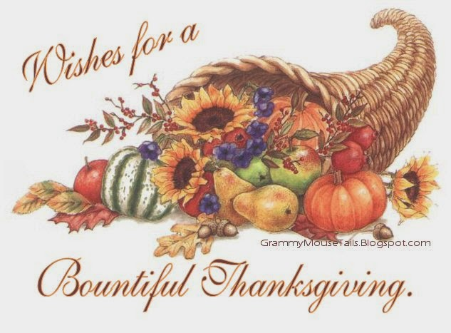 cornucopia with fall fruits and sunflowers- wishes for a bountiful thanksgiving image