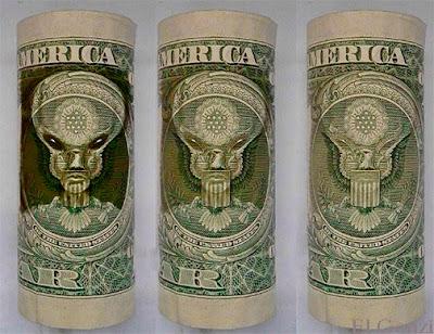 extraterrestre en los billetes de un dólar