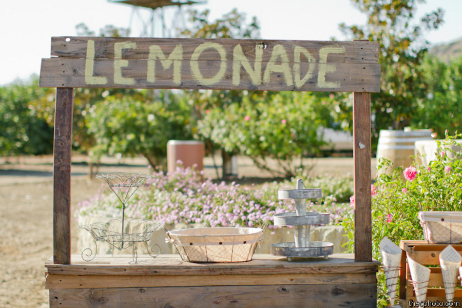 Enchanted events design event recap vintage lemon wedding for Rustic lemonade stand