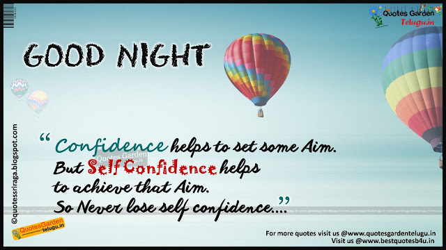 Self confidence quotes with good night greetings