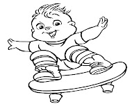 Theodore Chipmunks Skateboarding Coloring Pages For Kids