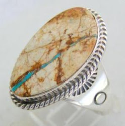 Large Boulder Turquoise Stone Native American Indian Sterling Silver Ring