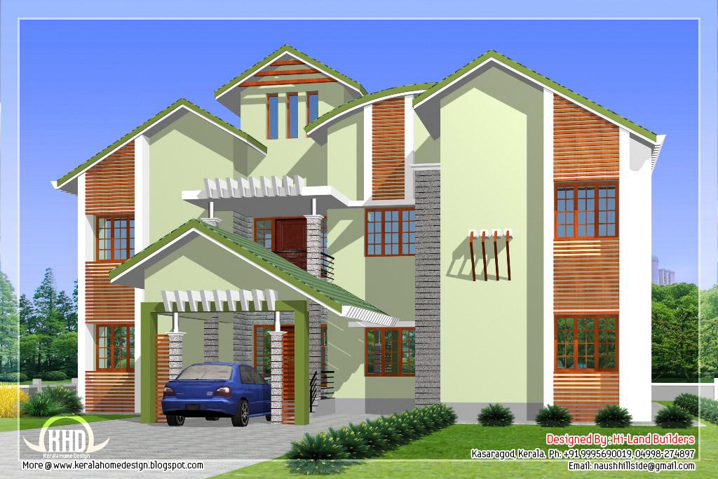 2912 5 diffrent type house designs kerala house for Villa elevation design