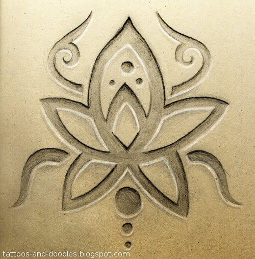 Tattoos and doodles carved lotus