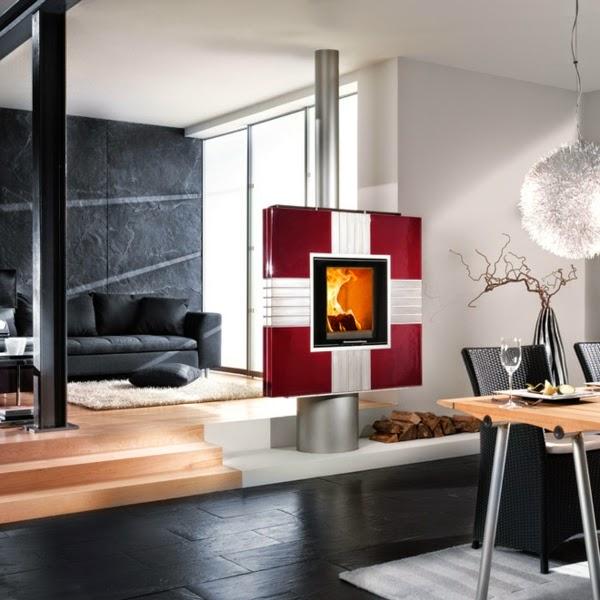 Salas decoradas con chimenea salas con estilo - Chimeneas con estilo ...