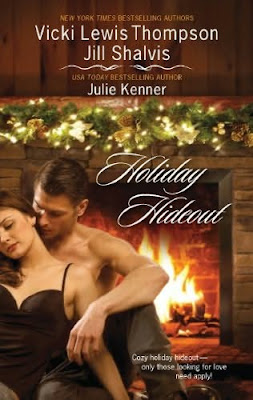 Book cover of Holiday Hideout anthology Harlequin Christmas romances Vicki Lewis Thompson Jill Shalvis Julie Kenner