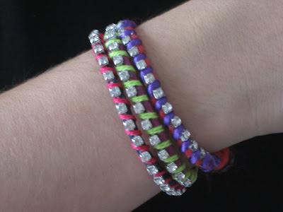 Pulseras de la amistad flúor y strass. Neon rhinestone bracelet. Bracelet fluor et strass