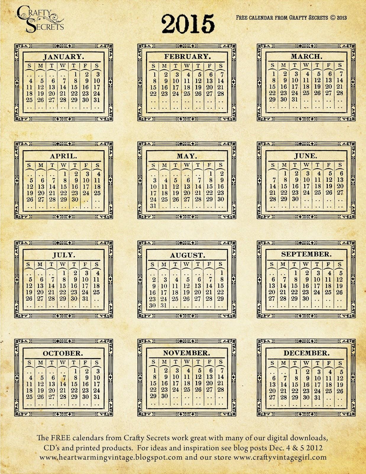 Calendar Craft 2015 : Crafty secrets heartwarming vintage ideas and tips our