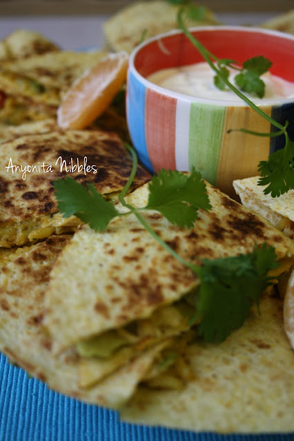 Margarita Chicken, Clementine and Criander or Cilantro Quesadillas from www.anyonita-nibbles.com