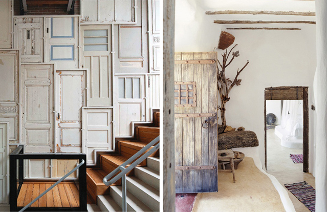 accumulation de portes sur un mur