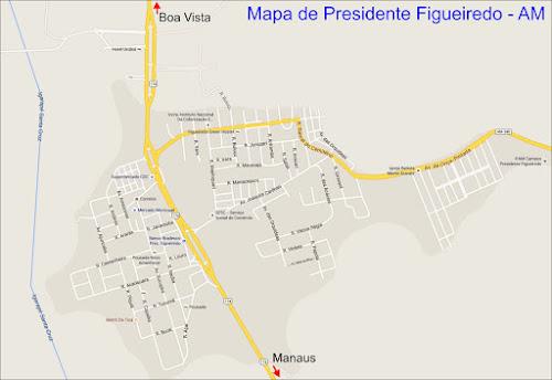 Mapa da cidade de Presidente Figueiredo - AM