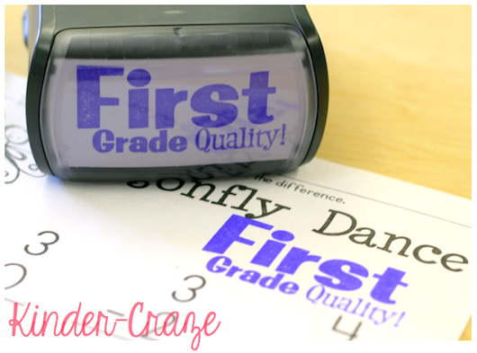 """First Grade Quality"" stamp ...keep students motivated at the end of the year"