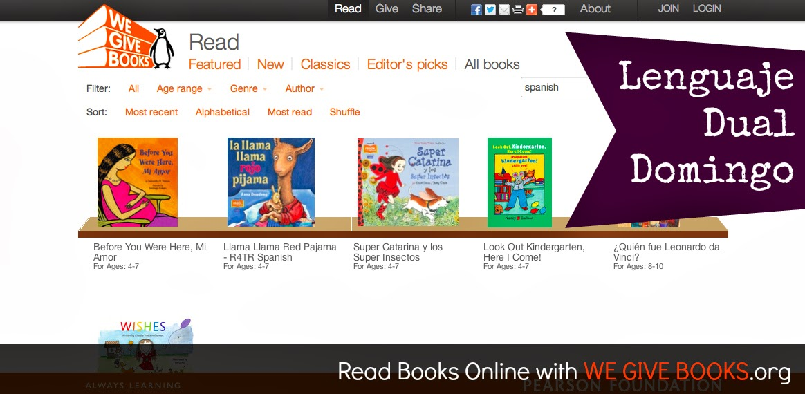 We Give Books online library with Spanish Books