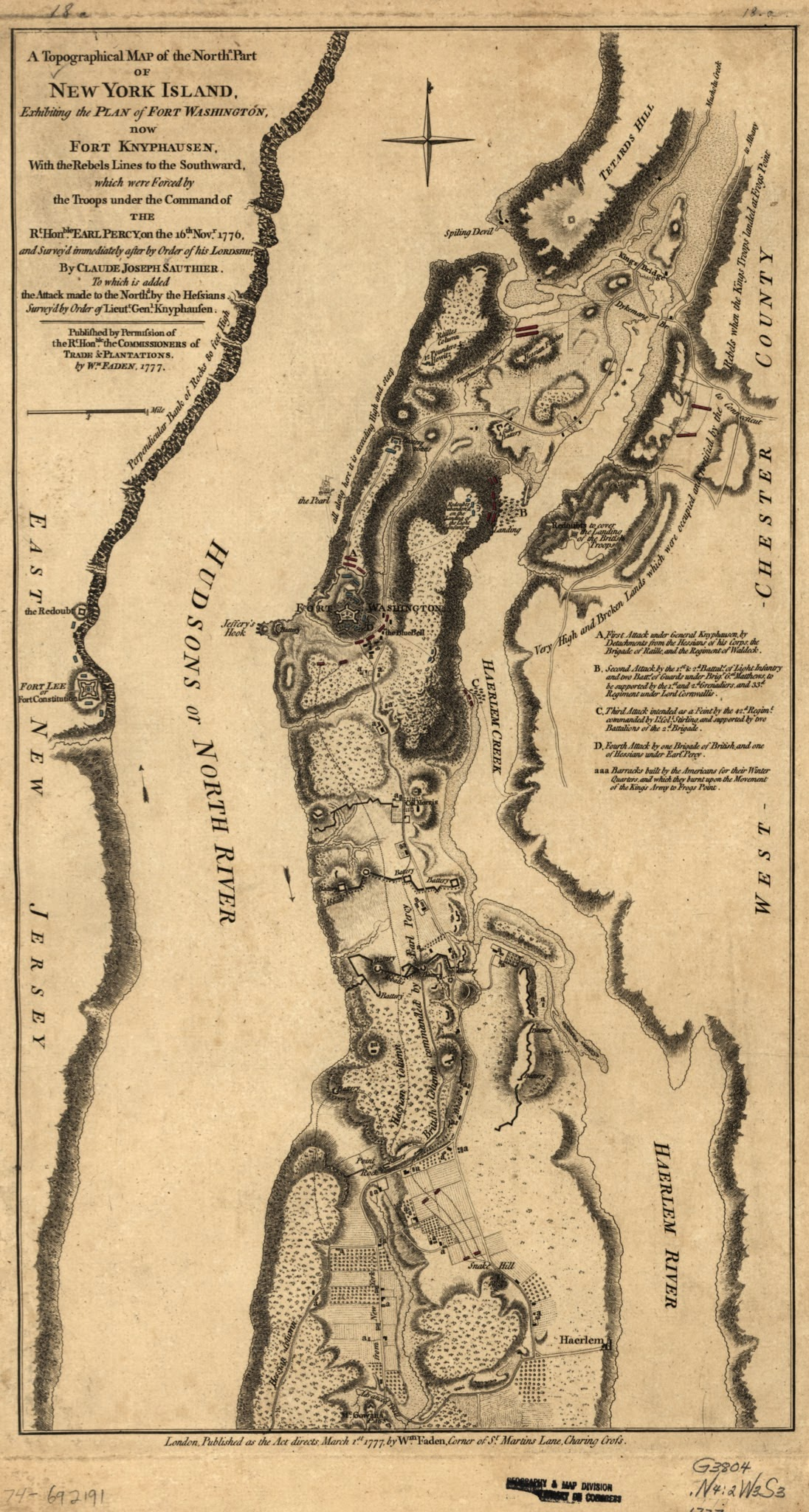 a map of new york island showing a plan of fort washington now call d ft kniphausen with the rebels lines on the south part from which they were driven