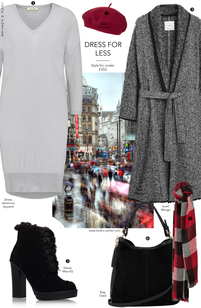 Sweater dress, long coat, greys, marsala and tweed for an autumn outfit idea via www.look-a-porter.com
