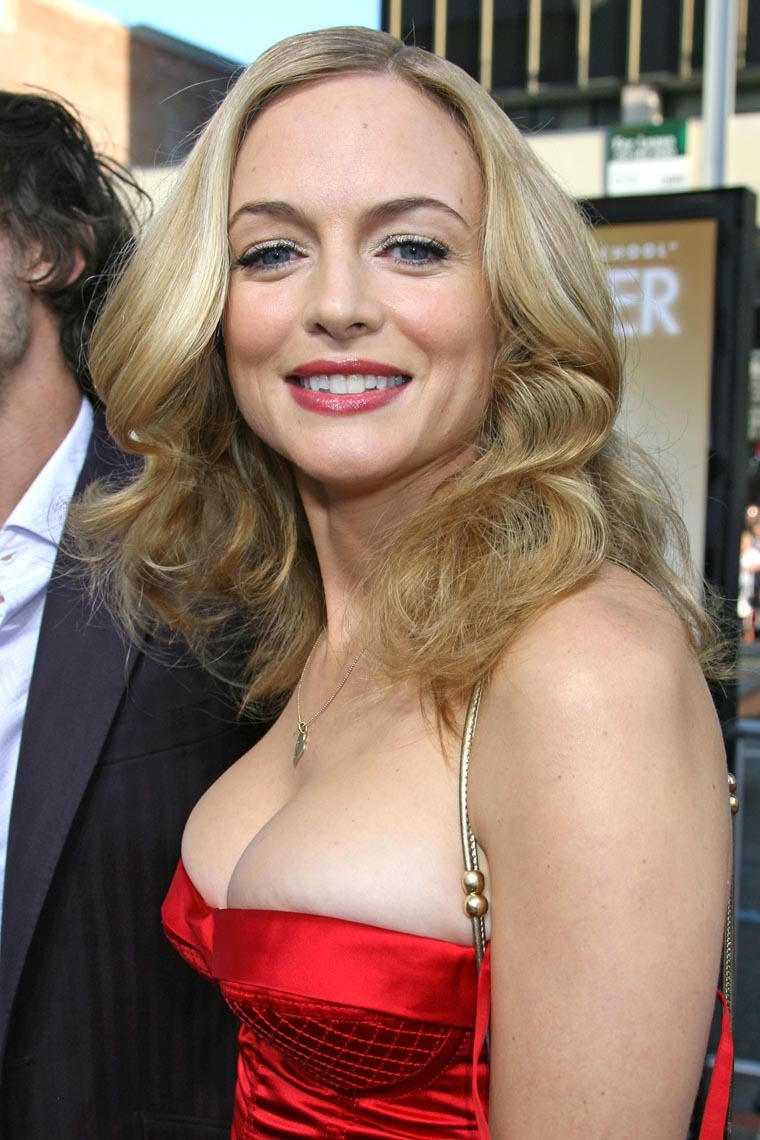 hottest red tight strapless dress elegant actress heather graham high