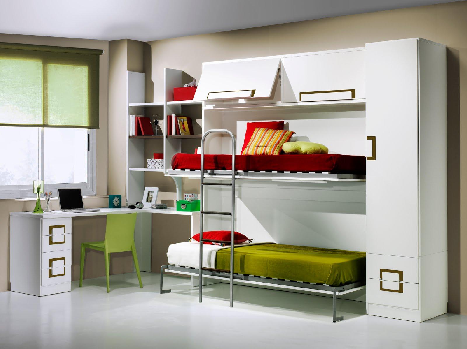 Dormitorios con camas abatibles literas abatibles - Habitaciones juveniles 2 camas ...