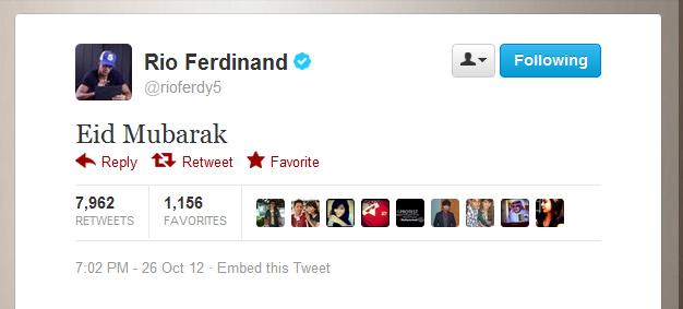 Rio Ferdinand Mengucapkan Eid Mubarak [ www.Bacaan.ME ]