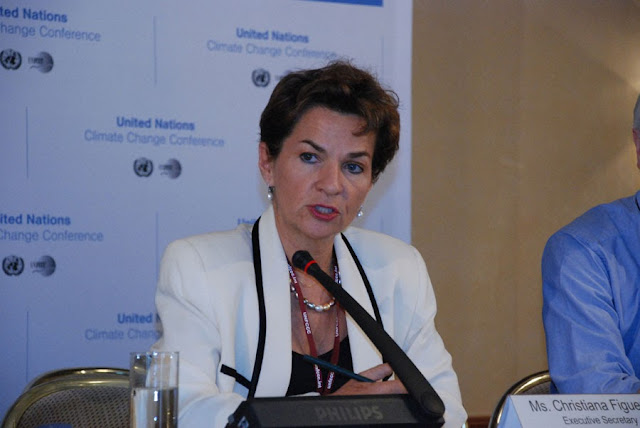 UNFCCC Christiana Figueres, talking on global warming and climate change