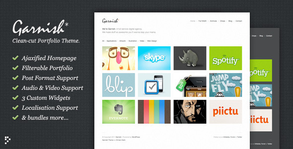 Garnish - Clean-Cut Portfolio Wordpress Theme Free Download by ThemeForest.