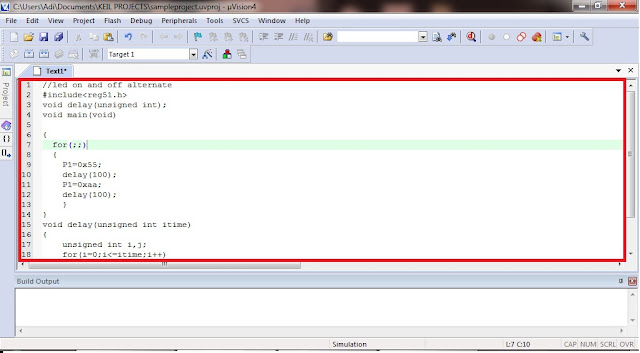 Writing the source code to be compiled in KEIL uVISION 4
