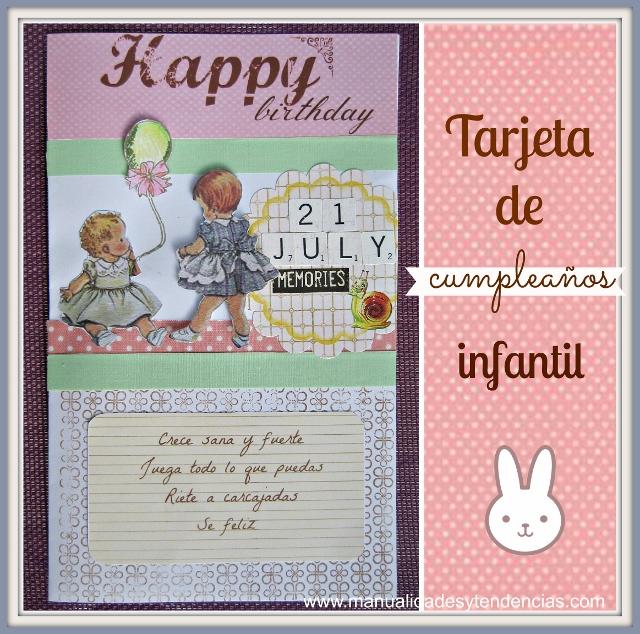 Scrapbooking Tarjeta felicitación infantil vintage /Vintage  Birthday card for a baby / Carte d'anniversaire pour bebé
