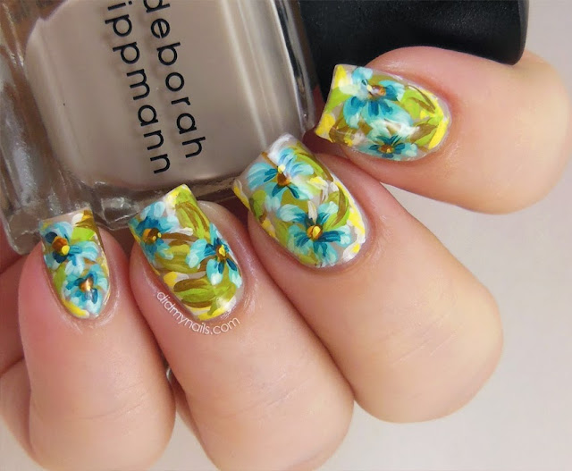 blue hawaiian flower nails
