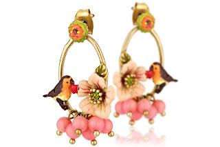 Boucles d'oreilles oiseau et fleur sous le châtaignier Les Néréides