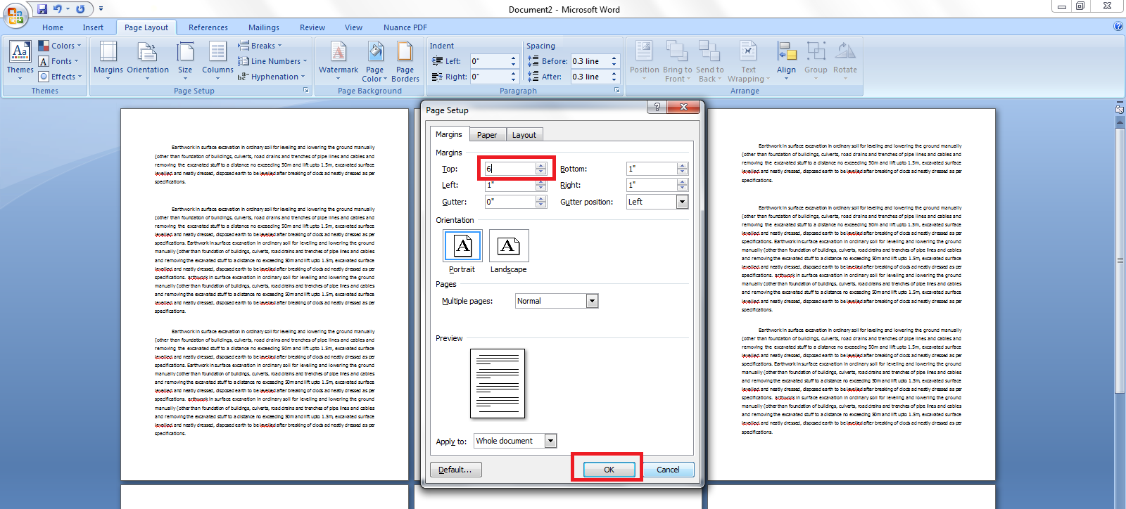 How to give different page setup margin in same word document