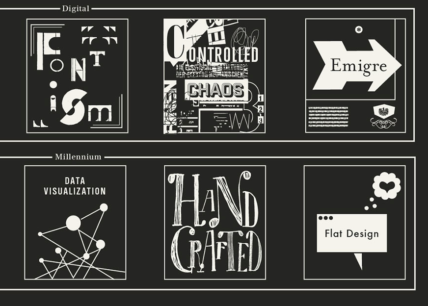 font ism, controlled chaos, emigre, data visualization, hand crafted, flat design